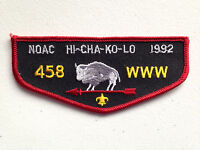 HI CHA KO LO OA LODGE 458 SCOUT SERVICE PATCH FLAP1992 NOAC DELEGATE BLACK RED