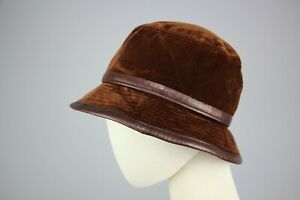 Hermes Brown Velours and leather Womens Bucket Hat Cap Retro Rare Size S