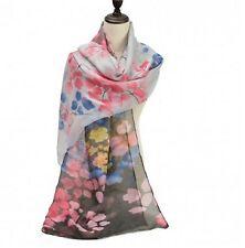 Ladies Large Scarf Flower Print Pattern Sheer Lightweight Wrap Shawl White Black