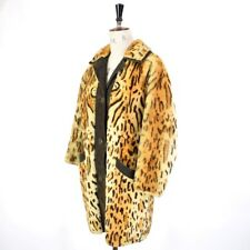 VINTAGE 60s 70s Leopard Print REAL SHEARLING FUR Suede MOD Party Coat UK 16