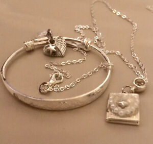 """Pearl Harted Locket&ster Sil 16"""" Chain&925Bangle HeartWing&star charm/ina Box"""