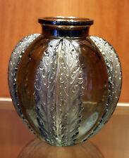 RENE LALIQUE FRANCE NOIR VASO CHARDONS 1922 VERRE GLASS VASE