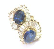 Fino Zafiro Azul&Diamante Bailarina Tuerca Pendientes Oro Amarillo 4.20CT