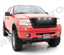 04-08 Ford F150 Raptor Style Matte Black Package Mesh Grille+Shell+White 3x LED