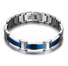 8.5'' New Blue  Stainless Steel Link Chain Bracelet magnet Stone Jewelry  Men
