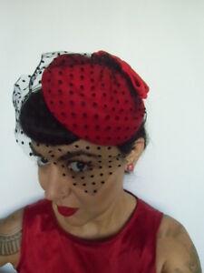 Mini chapeau bibi rétro vintage rouge voilette coquetterie plumetis pois pinup