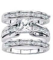 Women's 925 Sterling Silver Wedding Band PrincessBridal Engagement Ring 3pc Set