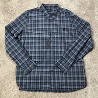 NWT John Varvatos Mens 2XL Long Sleeve Button Front Blue Plaid Shirt New