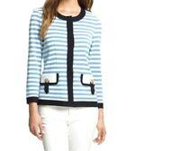 Misook Rebecca Stripe Knit Jacket Cardigan Blazer Faux Buttons Blue White Large