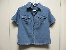 NY Jeans Faded Blue Denim Button/Snap Down Short Sleeve Blouse, sz S