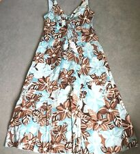 Marks & Spencer Per Una 100% Cotton Holiday Dress Size 10 Long Length Blue