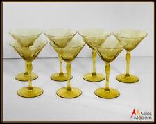 30s Morgantown Adonis Amber Elegant Crystal Stemware 7 Champagne Stems Glasses