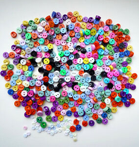 TINY BUTTON COLLECTION Novelty Craft Mixed Shades Baby 6mm Round Doll Small SALE