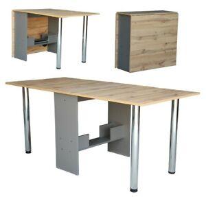 Tisch klappbar Esstisch ausklappbar  Büro Zusatz Klapptisch Eiche Grau Holzoptik