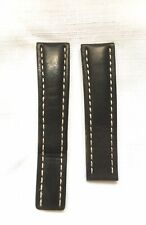 Genuine Breitling Black Deployant Clasp Leather Strap - 22/20