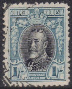 Southern Rhodesia 1935 1s Black & greenish-blue George V SG 23a used