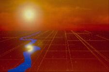 520053 gold terres grille avec Sun et rivière A4 imprimé photo texture