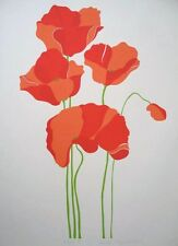 Poppies poster -55cms x 75cms signed lithograph, botanical, floral, still life