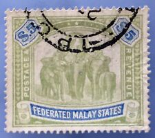 Malaya Federated Malay States FMS 1908 Elephants $5 MCCA Used SG#50 M2230