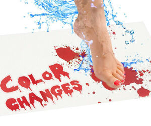 Blood Bath Mat: Color changing bloody mat turns red when wet 27x15.7in(70x40cm)