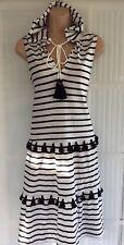 NEW NEXT 14 petite black white jersey stripe hood pom tassel sleeveless dress