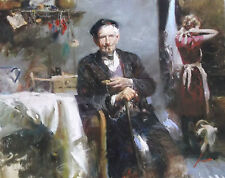"""Pino S/N Embell Stretched Canvas """"Fleeting Moments"""" Old man smoke pipe 32x40coa"""