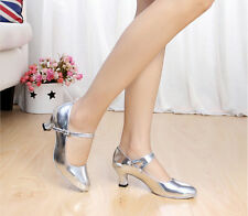 Womens Chunky Heel Straps Round Toe Comfortable Dancing Latin 4 Color Shoes Size