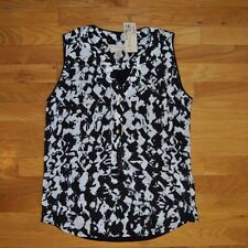 NWT Womens HANNA & GRACIE Black White Printed Tank Top Sleeveless Shirt Sz SMALL