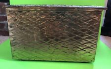 BEAUTIFUL LARGE VTG BRASS EMBOSSED FIREPLACE KINDLING FIREWOOD BOX