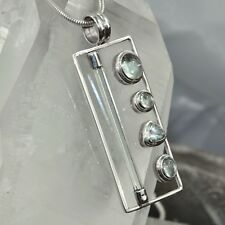 Aquamarin Anhänger, 925er Silber, Edelsteinanhänger (10303), mit Bergkristall