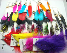 wholesale 100% Handmade 5pairs MIX Dangle Eardrop Genuine feathers earrings k6k