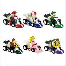 6 PCS Super Mario Kart Luigi PVC 4 Wheels Pull Back Racers Mini Car Toys figure