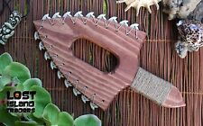 Large Hawaiian War Axe Style Shark Tooth Lei-O-Mano Tiki Lounge Tropical Decor