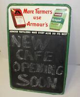 Antique Tin Chalk Board Sign Advertising - Armours fertilizers Farm Adv
