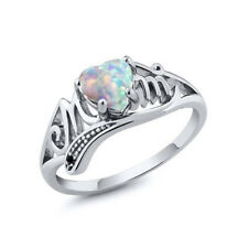 925 Sliver Ring Crystal Rhinestone Heart Mom Ring Best Gift Mother Band Rings 9