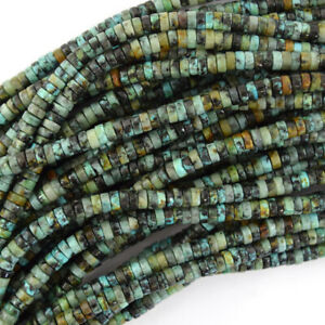 """Natural Green African Turquoise Heishi Disc Beads 15.5"""" Strand 4mm 6mm 8mm"""