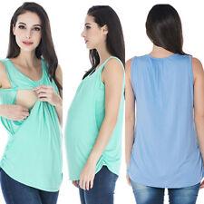 T-Shirt Women Casual Nursing Sleeveless Loose Breastfeeding Vest Tank Tops S-XL