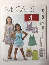 McCall's 6065 Size 7-14 Girls; Tops Dresses Shorts Capri Pants