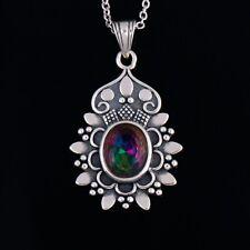 Vintage 925 Silver Solid Oval Mystic Topaz Pendant Flower Design Necklace Chain!