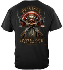 Original Homeland Security Indian Headdress Skull Crossed Guns T Shirt