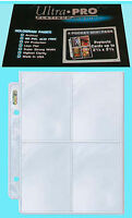 "10 ULTRA PRO PLATINUM 4 POCKET MINI pages 2.5""x3.5"" team set card album sheets"