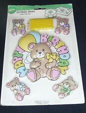Vintage Wilton Birthday Bears Cake Topper Set Candles Decorating Sealed 1991