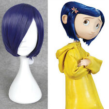 Coraline Cosplay Wig Short Bob Straight Blue Hair Halloween Full Wigs + A Cap