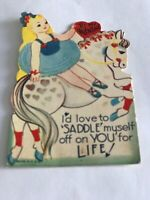 Vintage Happy Valentine's Day I'd Love To Saddle Myself Off On You For Life Card