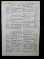 1597 GENEVA  BIBLE LEAF PAGE * BOOK OF PSALMS 92:11-99:4 *LORD WILL NOT FAIL HIS
