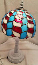 Tiffany Style Table Lamp Red Blue White Stained Glass Top White Cast Metal Base