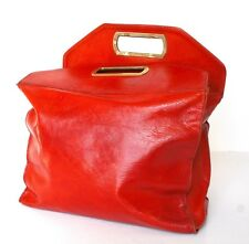 Vintage en cuir Sac Shopping-fauve brun-rouge - 1980 S-Large
