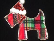 CHRISTMAS TARTAN PLAID SANTA SCHNAUZER SCOTTIE SCOTTISH TERRIER DOG PUPPY BROOCH