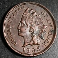 1905 INDIAN HEAD CENT - With LIBERTY & Near 4 DIAMONDS - AU UNC