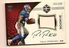 PAUL PERKINS 2016 PANINI LIMITED FOOTBALL ON CARD ROOKIE PATCH AUTO /299